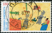 GREECE - CIRCA 2000: Postage stamps printed in Greece, dedicated to Stampin the Future Childrens Stamp Design Contest Winners, shows Robots by Ornella Moshovaki-Chaiger, circa 2000 — Foto de Stock