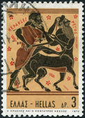 GREECE - CIRCA 1970: Postage stamps printed in Greece, shows Hercules and the Centaur Nessus, circa 1970 — Stock Photo