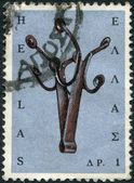 GREECE - CIRCA 1966: Postage stamps printed in Greece, shows musical instrument Massa (stringed instrument), circa 1966 — Stock Photo