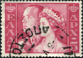 GREECE - CIRCA 1956: Postage stamps printed in Greece, shows King Paul I and Queen Frederica, circa 1956 — Stock Photo