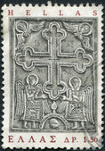 GREECE - CIRCA 1966: Postage stamps printed in Greece, shows bas-relief (cross and angel) of the Monastery of Great Lavra, Mount Athos, circa 1966 — 图库照片