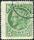 CRETE - CIRCA 1900: Postage stamps printed in Crete, shows ancient Greek goddess Hera, circa 1900 — Stock Photo