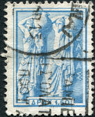 GREECE - CIRCA 1958: Postage stamps printed in Greece, dedicated to the Greek ancient art, shows a Pitcher bearers, circa 1958 — Foto Stock