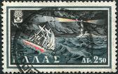 Grekland - ca 1960: frimärken tryckt i grekland, visar skepp kämpar storm, ca 1960 — Stockfoto