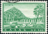 GREECE - CIRCA 1961: Postage stamps printed in Greece, shows the Temple of Hera, Olympia, circa 1961 — Stock Photo
