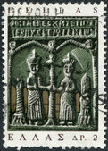 GREECE - CIRCA 1966: Postage stamps printed in Greece, shows Icon (Sts. Constantine and Helena), circa 1966 — Stock Photo