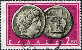 GREECE - CIRCA 1959: Postage stamps printed in Greece, shows Ancient Greek Coins: Apollo & Lyre, circa 1959 — Stock Photo