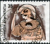GREECE - CIRCA 1986: Postage stamps printed in Greece, shows Gods of Olympus, Athena, circa 1986 — Stock Photo