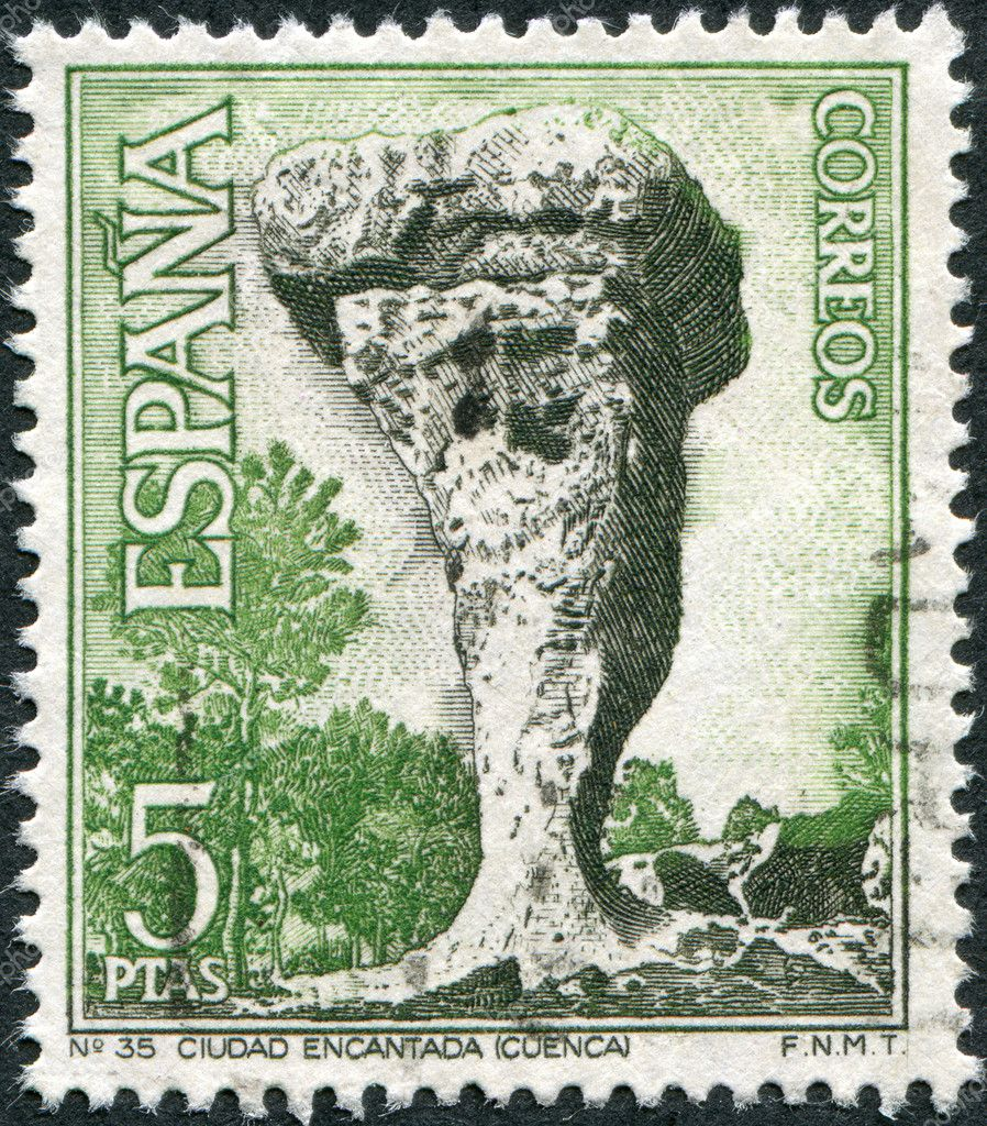 SPAIN - CIRCA 1967: A stamp printed in Spain, shows a Ciudad Encantada (Enchanted City), Cuenca, circa 1967 — Stock Photo #11974738