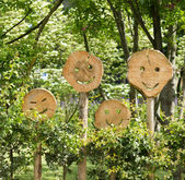 Wooden smilies — Stock Photo