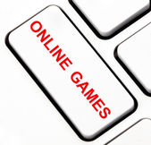 Online games button on keyboard — Stok fotoğraf