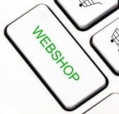 Webshop button on keyboard — Stock Photo