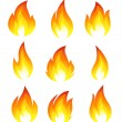 Collection of fire icons — Imagen vectorial