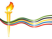 Olympic torch with the colors of the five continents — Stock Vector