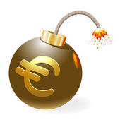 Ignited bomb with euro-symbol. — Stock Vector