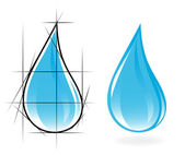 Sketch of clear water drop. Vector-Illustration — Stock Vector