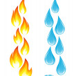 Collection of fire icons and water drops — Stock Vector