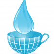 Stock Vector: Drop and cup as blue globe