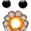 Set of ignited bombs and explosion - Stock Vector