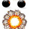 Set of ignited bombs and explosion — Stock Vector #11928146