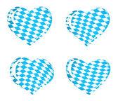 Kalp simgeleri olarak Bavyera bayrak — Stok Vektör