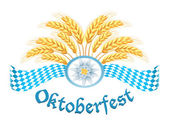 Oktoberfest celebration design with edelweiss and wheat ears — Stock Vector