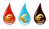 Set of drops with euro sign — Vettoriale Stock
