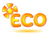 Eco sign with sun — Stock Vector