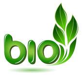 Bio signe avec feuilles — Vecteur