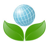 Symbol of globe with the plant. Vector-Illustration — Vettoriale Stock