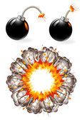 Set of ignited bombs and explosion — Stock Vector