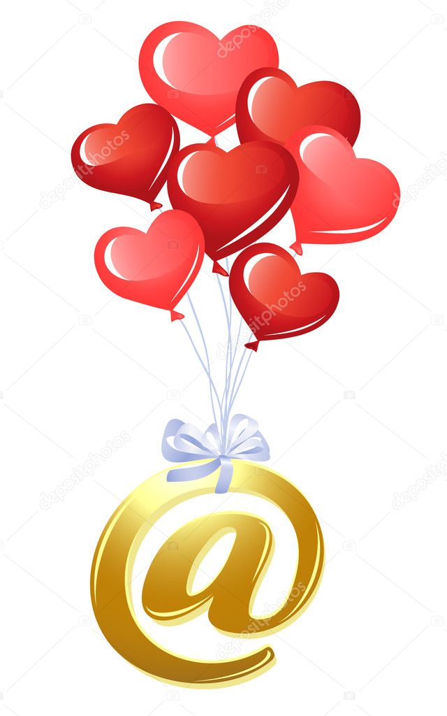 At-symbol with bunch of heart balloons — Stock Vector #11928116