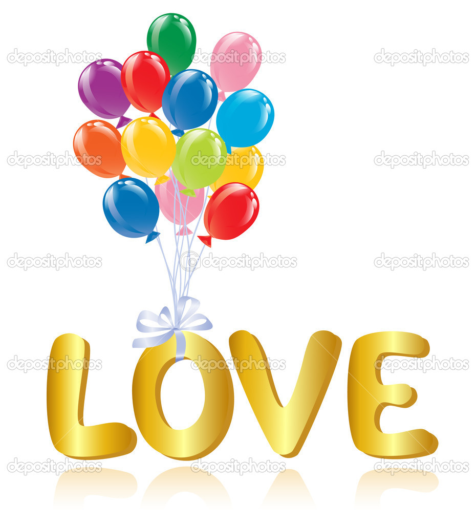 Love message with ballons. — Stock Vector #11928184