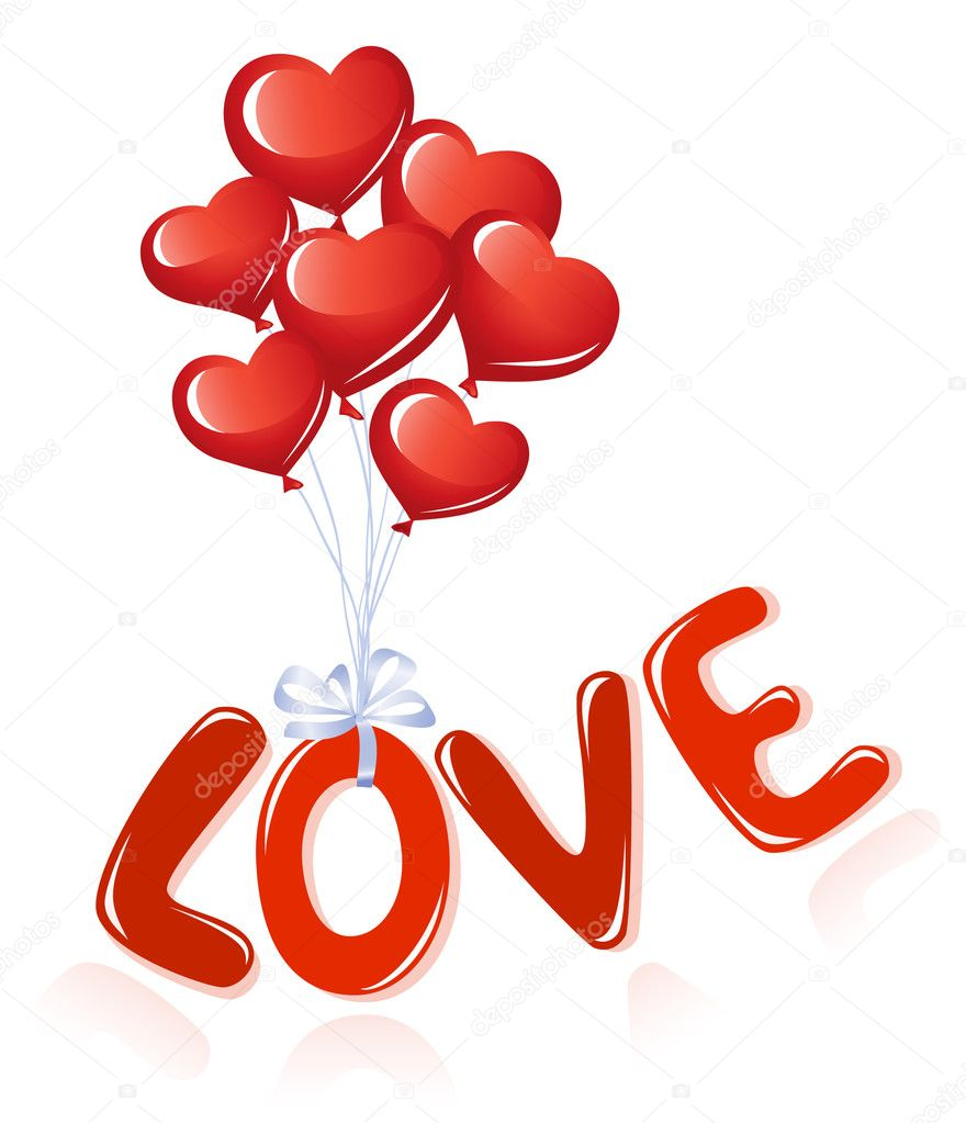 Love message with heart balloons — Stok Vektör #11928185