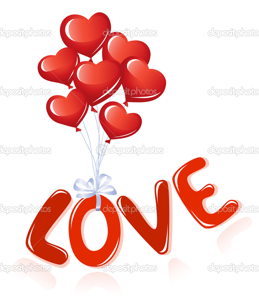 Love message with heart balloons  Imagens vectoriais em stock #11928185