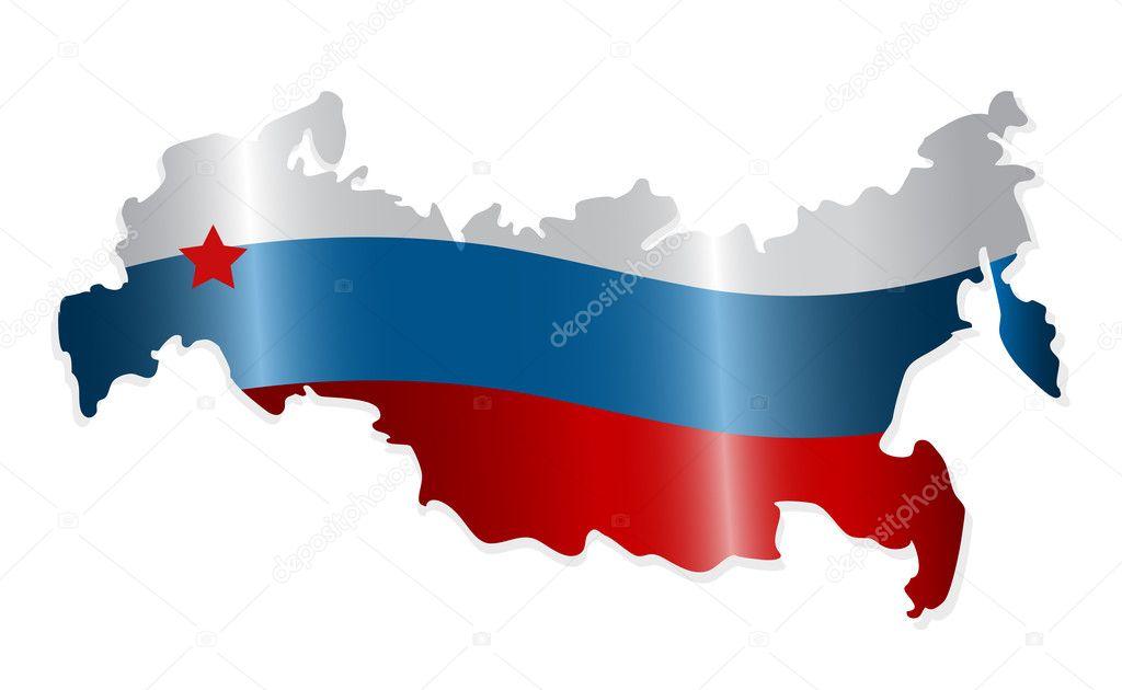 俄罗斯联邦地图彩色像俄罗斯国旗.矢量插画– 图库插图
