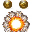 Set of ignited bombs with currency symbols and explosion - Stock Vector