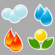 Four elements. Fire, water, air, ground. — Stock Vector