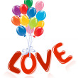 Royalty-Free Stock Vector Image: Love message with ballons.