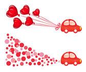 車とバレンティン バナー。ベクトル イラスト — ストックベクタ