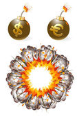 Set of ignited bombs with currency symbols and explosion — Stock Vector