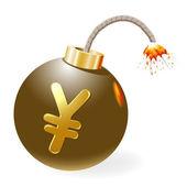 Ignited bomb with yen-symbol — Stock Vector