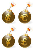 Set of ignited bombs with currency-symbols — Stock Vector