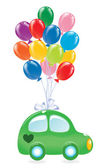 The green's car with balloon's. — Stock Vector