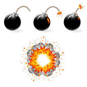 Set of burning black bombs and explosion — Stock Vector