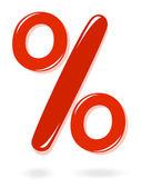 Red percentage symbol — Stock Vector