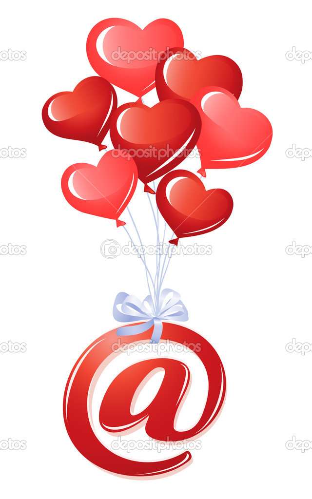 At-symbol with bunch of heart balloons — Stock Vector #11933043