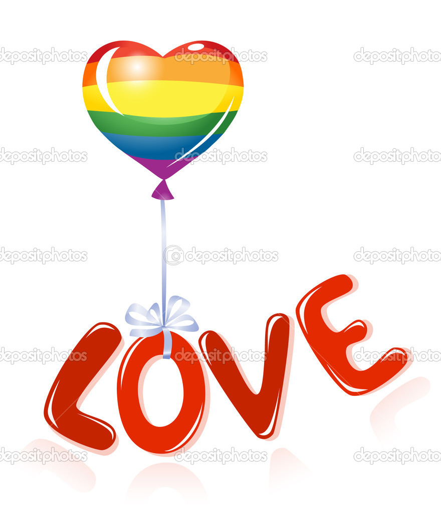 Love message with rainbow balloon — Stock Vector #11933162