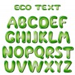 Stock Vector: Alphabet letters in green colors