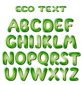 Alphabet letters in green colors — Stock Vector
